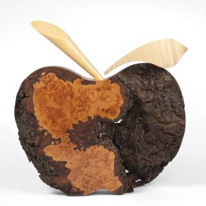 Wooden apple sculpture